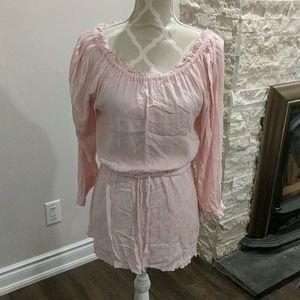 Bianca nygaard pink long sleeve tie waist